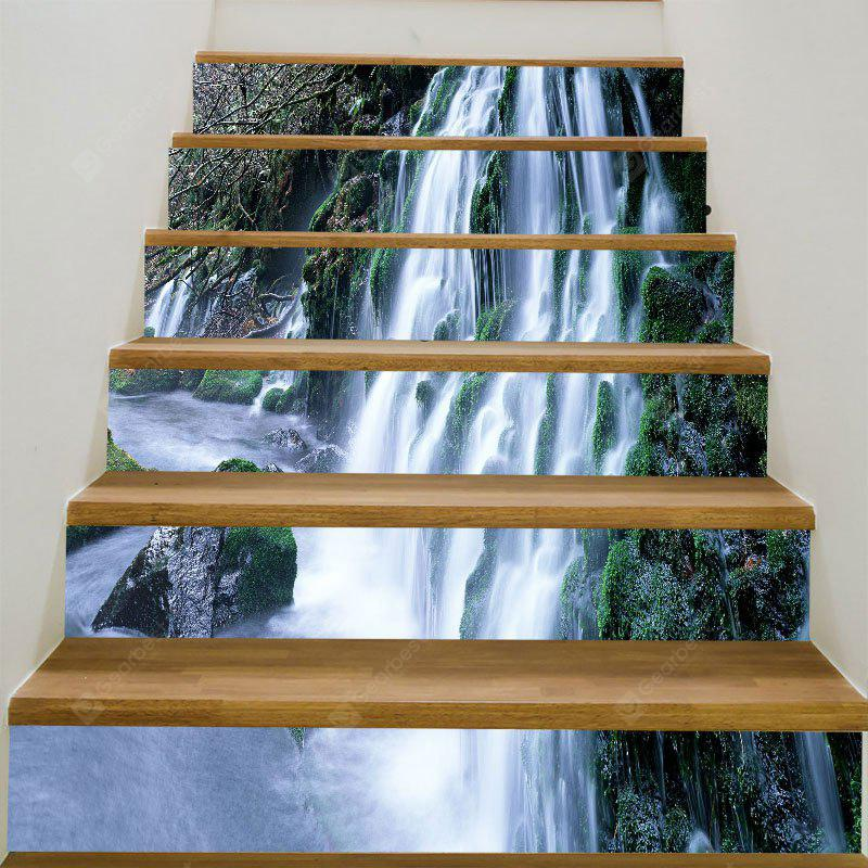 Mountain Waterfall Printed 6Pcs Stair Stickers