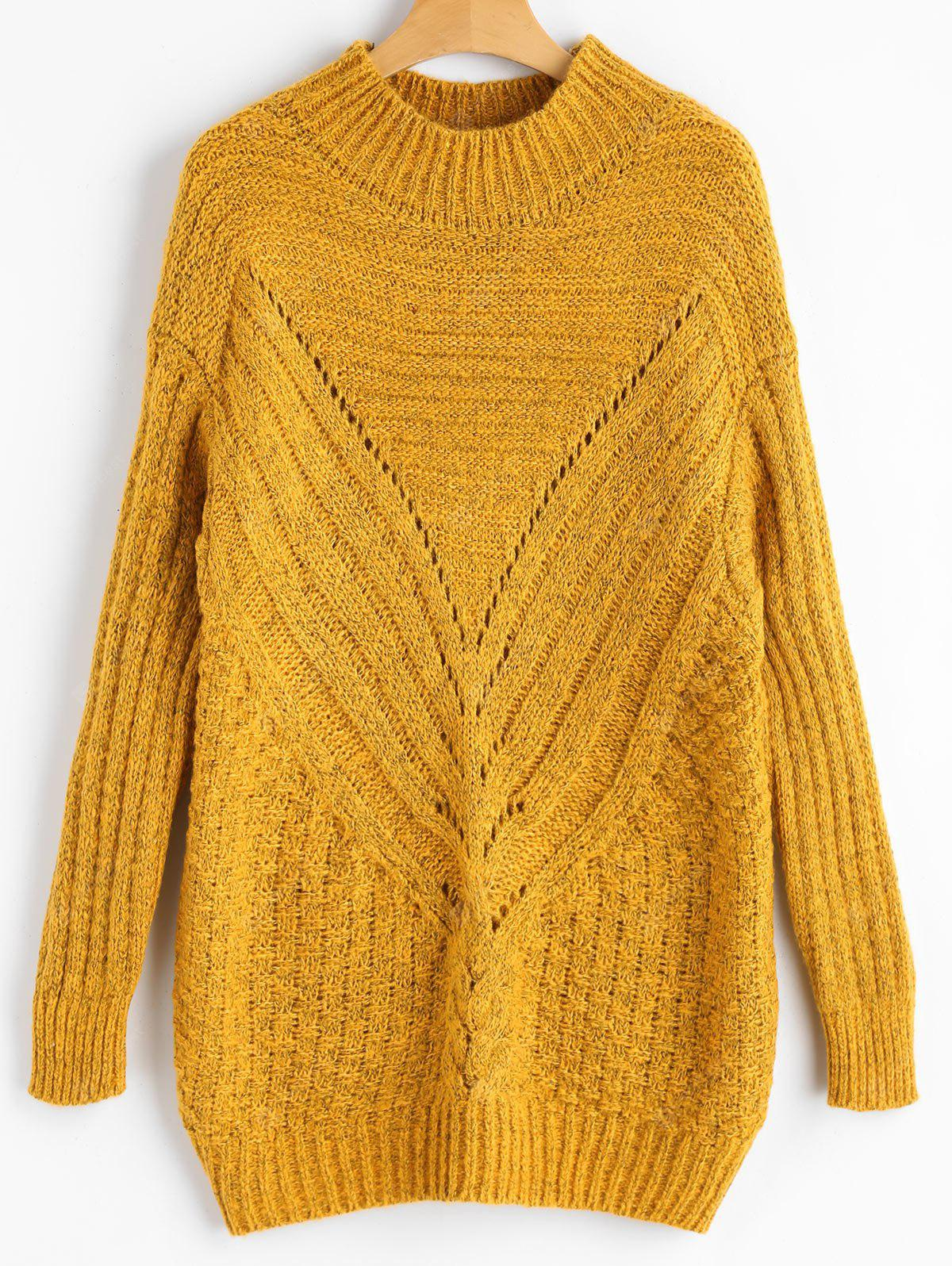 Hollow Out High Neck Chunky Sweater