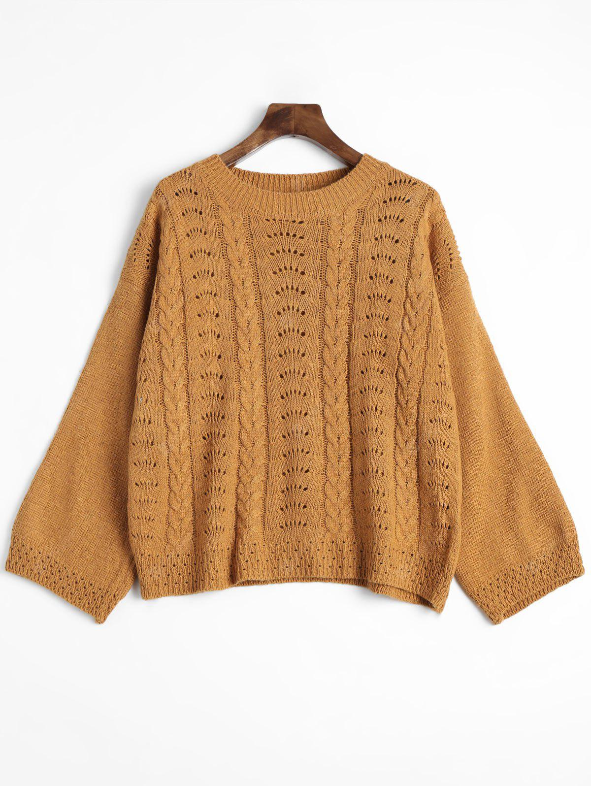Cable Knitted Hollow Out Crew Neck Sweater
