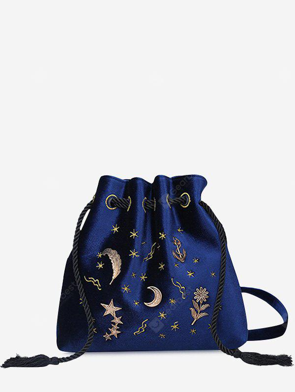 Embroidery Patchwork String Crossbody Bag