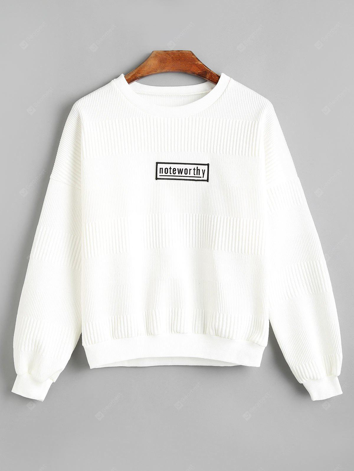 Textured Badge Patched Sweatshirt WHITE M
