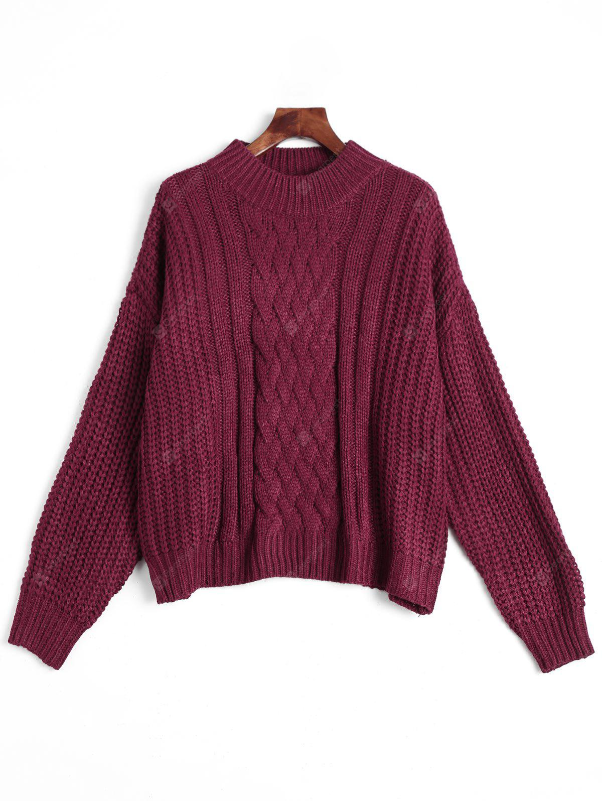 Mock Neck Drpped Shoulder Chunky Knitted Sweater