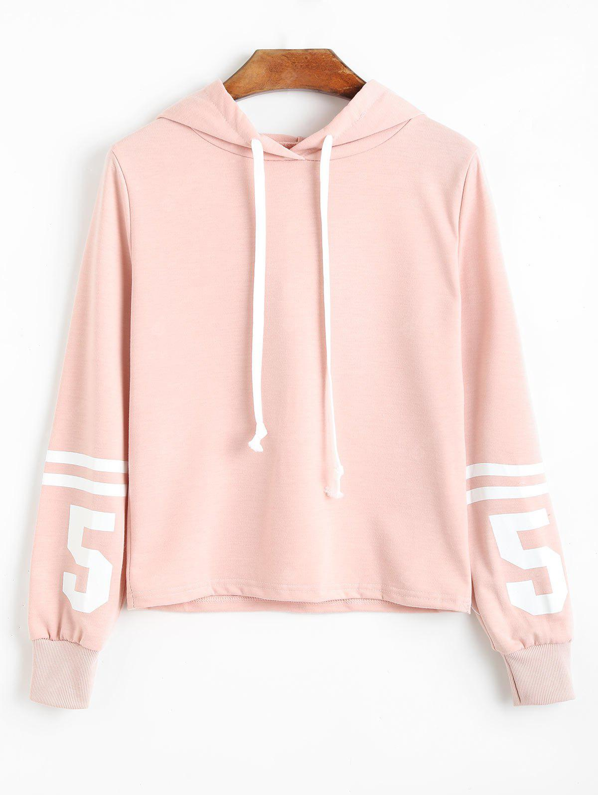 Striped Number Drawstring Hoodie