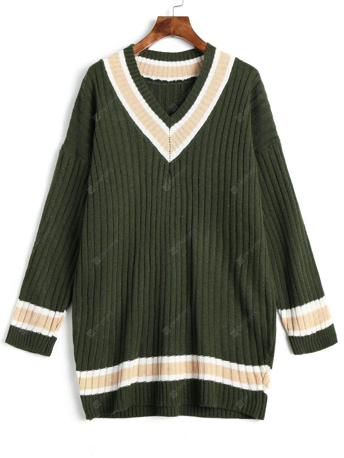 Contrast Trimmed V Neck Rib Tunic Sweater