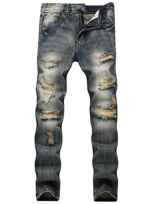 Vintage Distressed Jeans with Straight Leg