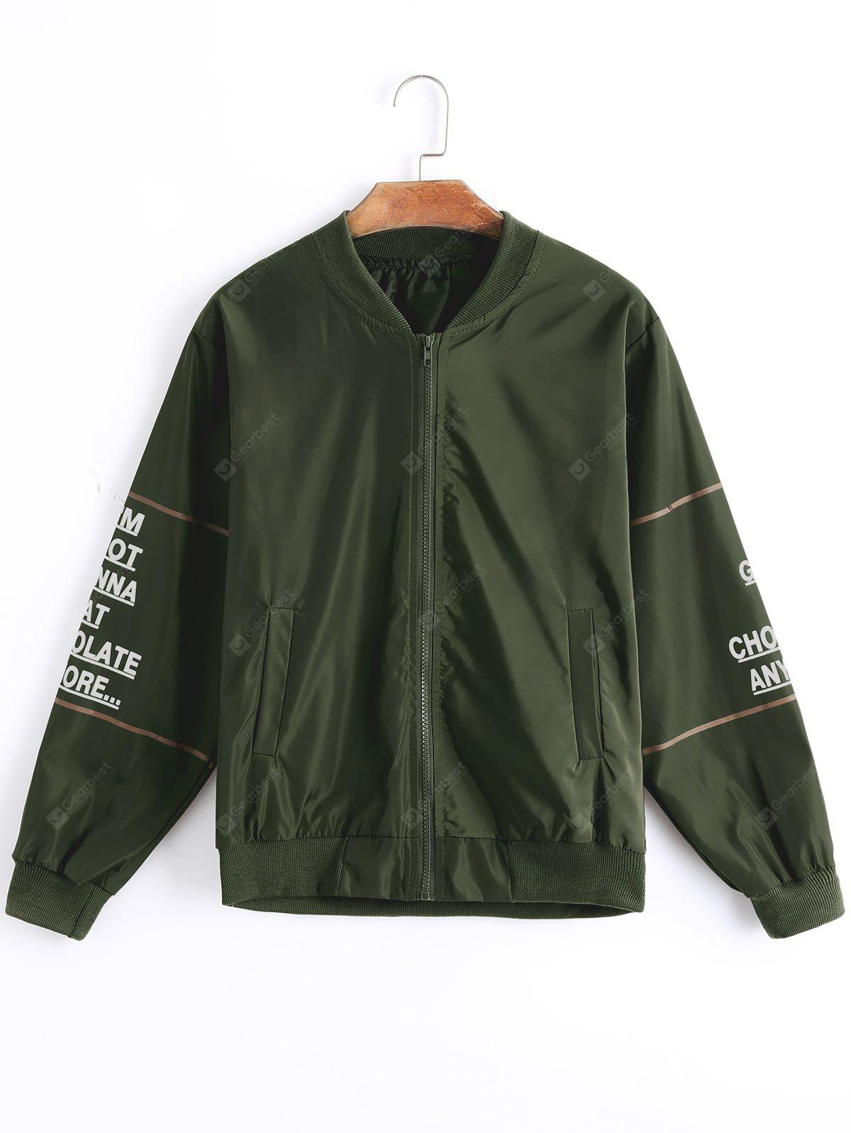 Zip Up Contrasting Letter Bomber Jacket