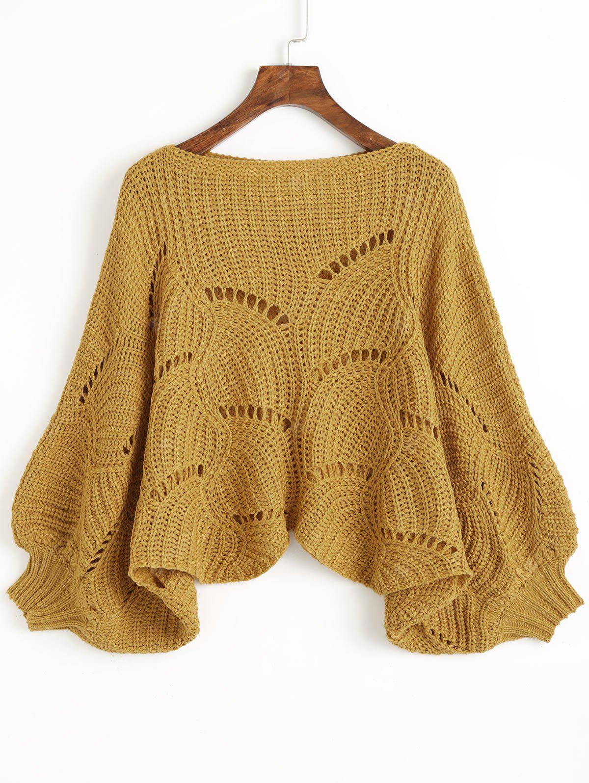 Hollow Out Cropped Batwing Sweater