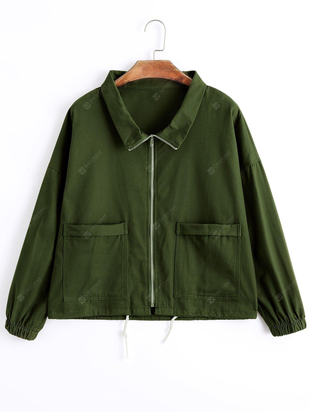 Zip Up Drawstring Hem Denim Jacket ARMY GREEN