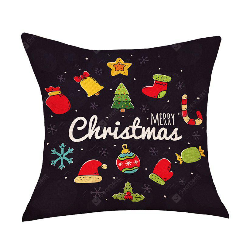 Christmas Cartoon Series Print Decorative Linen Sofa Pillowcase