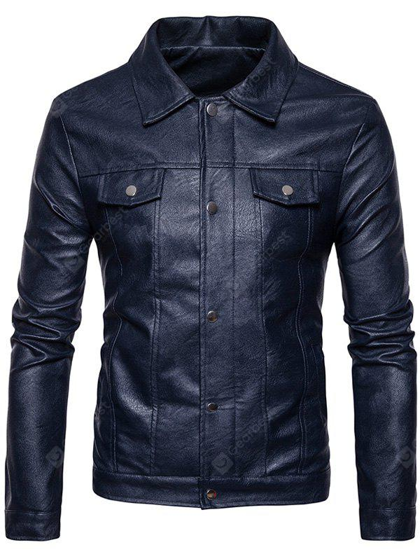 Turndown Collar Buttons Zip Up PU Leather Jacket