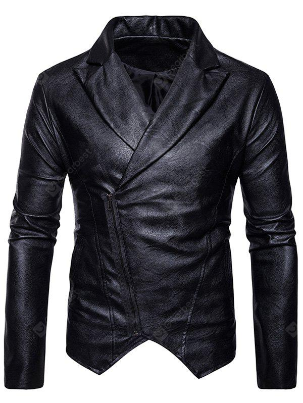 Zip Up Asymmetric PU Leather Biker Jacket BLACK M