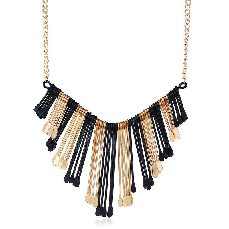 Statement Alloy Geometric Fringed Necklace