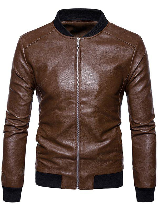 Ribbed Panel Zip Up Faux Leather Bomber Jacket