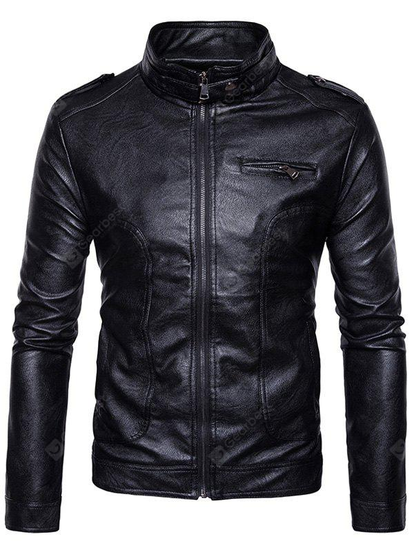 Stand Collar Epaulet Faux Leather Zip Up Jacket BLACK S