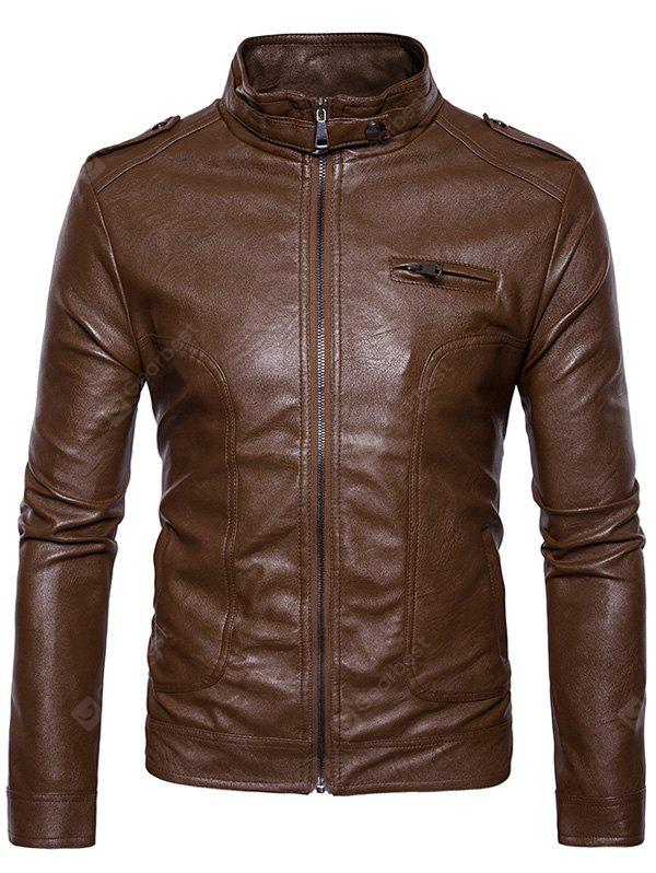 Stand Collar Epaulet Faux Leather Zip Up Jacket BROWN L
