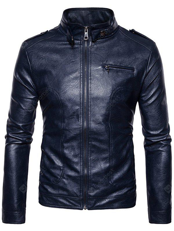 Stand Collar Epaulet Faux Leather Zip Up Jacket CADETBLUE S