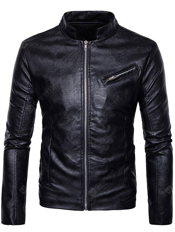 Stand Collar Zipper Design Faux Leather Jacket BLACK XL