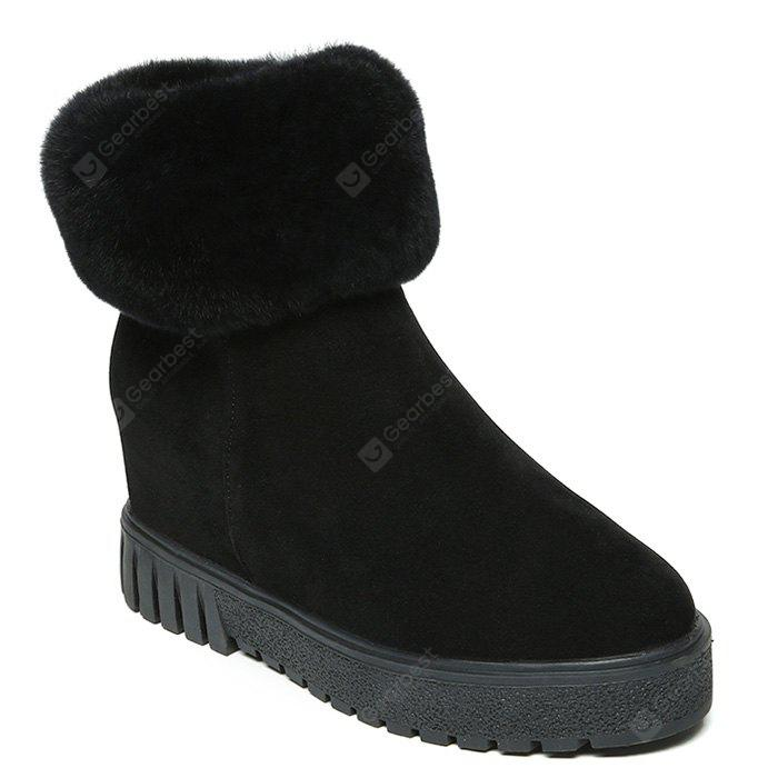 Side Zipper Faux Fur Trim Snow Boots