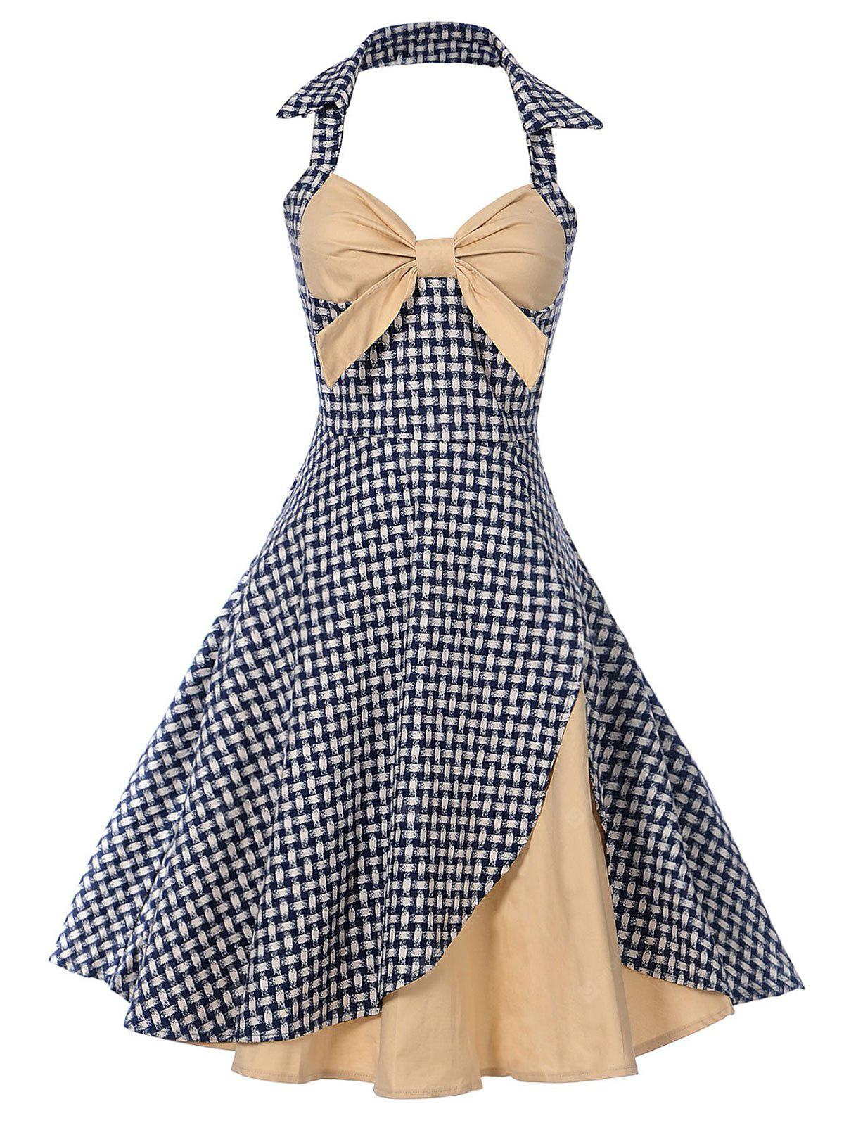 Vintage Halter Bowknot Plaid Pin Up Dress