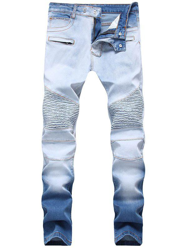 Skinny Hook Button Ombre Biker Jeans