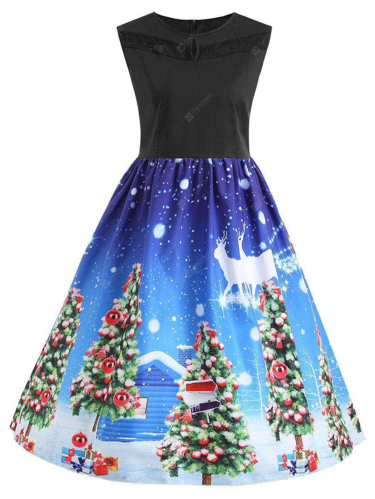 Christmas Tree Lace Panel Vintage Plus Size Dress