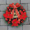 Home Decorations Bowknot Flower Plastic Christmas Wreath - RED