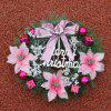 Home Decorations Bowknot Flower Plastic Christmas Wreath - PINK