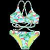 Leaf Print Braided Lace-up Bikini Set - COLORMIX