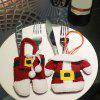2PCS Christmas Santa Claus Clothes Pants Tableware Bags - RED