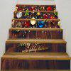 Baubles and Wooden Printed Decorative Stair Stickers - COLORFUL