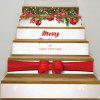 Merry Christmas Bowknot Printed Decorative Stair Stickers - COLORFUL