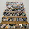 6Pcs Cobblestones Pattern 3D Stair Stickers - GRAY