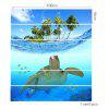 Sea Turtle Coconut Trees Pattern 3D Stair Stickers - BLUE