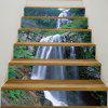 Mountain Layered Waterfall Printed Stair Stickers - GREEN