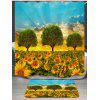 Morning Sunflowers Pattern Shower Curtain - BLUE AND GOLDEN