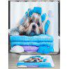Bathing Dog Pattern Shower Curtain - WHITE AND BLUE