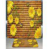 Bamboo Fence Sunflowers Printed Waterproof Shower Curtain - YELLOW