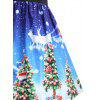 Christmas Tree Lace Panel Vintage Plus Size Dress - BLUE