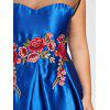 Plus Size Mesh Panel Floral Applique Dress - BLUE