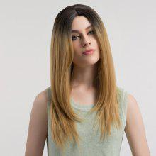 Long Center Parting Straight Ombre Synthetic Wig