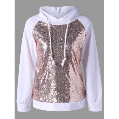 Sweat à capuche à manches raglan et sequins