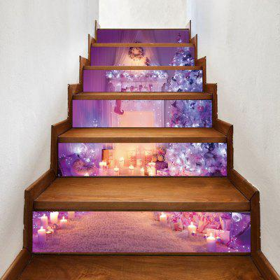Christmas Fireplace Tree Pattern Decorative Stair Decals