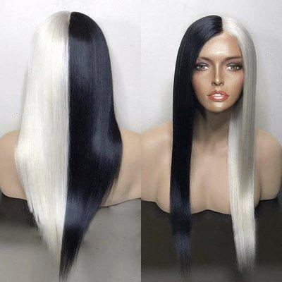 Long Center Parting Two Tone Straight Synthetic Wig