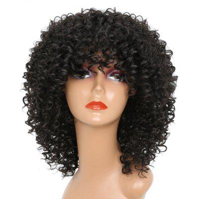 Buy BLACK Medium Full Bang Fluffy Afro Kinky Curly Synthetic Wig for $18.30 in GearBest store