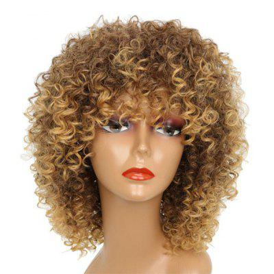 Buy BROWN Medium Full Bang Fluffy Afro Kinky Curly Synthetic Wig for $18.30 in GearBest store