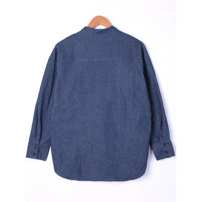 Button Cuff Dip Hem Denim ShirtBlouses<br>Button Cuff Dip Hem Denim Shirt<br><br>Collar: Crew Neck<br>Material: Polyester<br>Occasion: Casual<br>Package Contents: 1 x Shirt<br>Pattern Type: Solid<br>Season: Fall, Spring<br>Shirt Length: Long<br>Sleeve Length: Full<br>Style: Casual<br>Weight: 0.2500kg