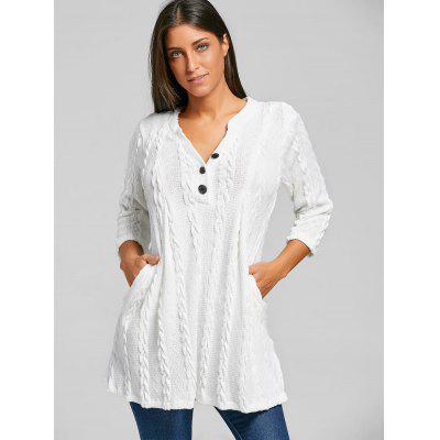 Cable Knitted Tunic Sweater with ButtonSweaters &amp; Cardigans<br>Cable Knitted Tunic Sweater with Button<br><br>Collar: V-Neck<br>Material: Polyester, Spandex<br>Package Contents: 1 x Sweater<br>Pattern Type: Solid<br>Season: Spring, Fall<br>Sleeve Length: Three Quarter<br>Style: Fashion<br>Type: Pullovers<br>Weight: 0.6300kg