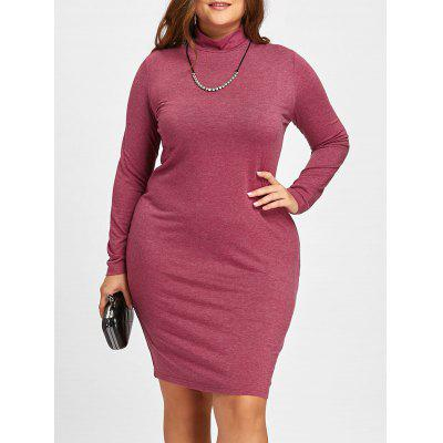 Buy WINE RED 3XL Plus Size High Neck Midi Sheath Dress with Sleeves for $20.26 in GearBest store