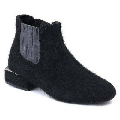 Faux Fur Stacked Heel Ankle Boots