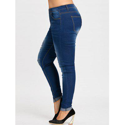 Plus Size Ripped Distressed Cuffed JeansPlus Size<br>Plus Size Ripped Distressed Cuffed Jeans<br><br>Closure Type: Zipper Fly<br>Embellishment: Hole,Hollow Out<br>Fabric Type: Denim<br>Fit Type: Skinny<br>Length: Ninth<br>Material: Jean<br>Package Contents: 1 x Jeans<br>Pant Style: Pencil Pants<br>Pattern Type: Solid<br>Style: Fashion<br>Waist Type: Mid<br>Weight: 0.5800kg